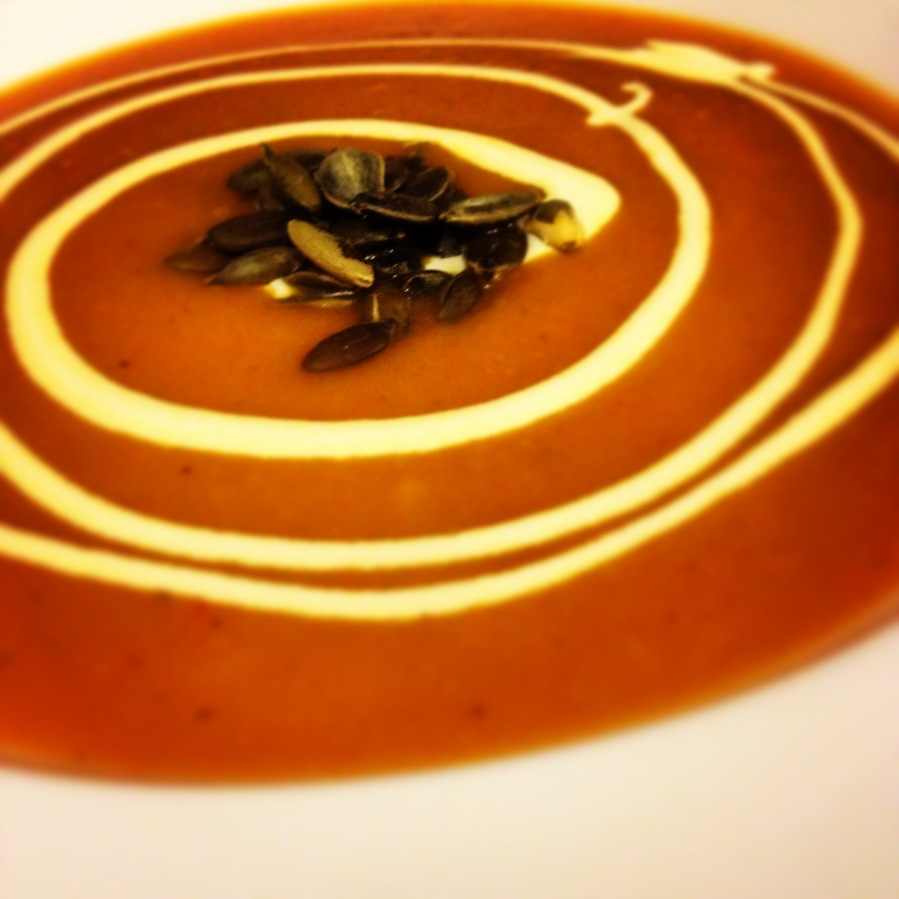 Squash, Honey & Ginger Soup with Toasted Pumpkin Seeds